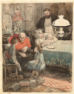 interieur mit familie by frantisek kupka