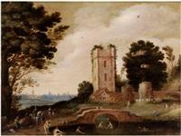 niederländische landschaft mit ruinösem turm und badenden in einem teich by anonymous-flemish (17)