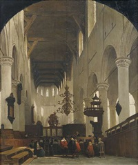 inneres der pieterskerk in leyden by johannes bosboom