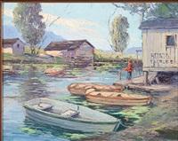 boy fishing by frank edward lloyd