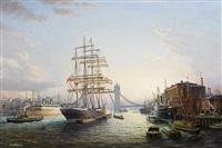 """der windjammer """"passat"""" nahe der tower bridge in london by s. francis smitheman"""