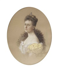 portrait of a woman, bust-length, wearing a yellow dress and a tiara by carl langhorst