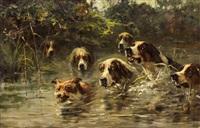 schwimmende hundemeute hinter einem fuchs by john frederik hulk the younger