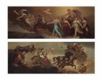 apollo in his chariot preceded by aurora (+ aurora; pair) by guercino