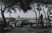 romische landschaft mit blick auf st. peter von der     terrasse der villa doria pamphili aus by gratien achille gallier