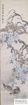 zwei entenpaare unter weiden und glyzinien (pair) by liu bin