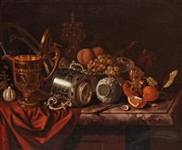 still life with fruits, a knife and trophies by pieter gerritsz van roestraten