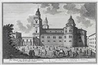 ansicht des domes, dombögen vom kapitelplatz mit reicher figurenstaffage pl. 2 (from die salzburgische kirchen-prospect) by franz anton danreiter