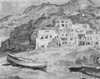 steilküste mit fischerboot by karl friedrich lippmann
