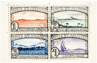 amis et amants (set of 4 postage stamps) by donald evans