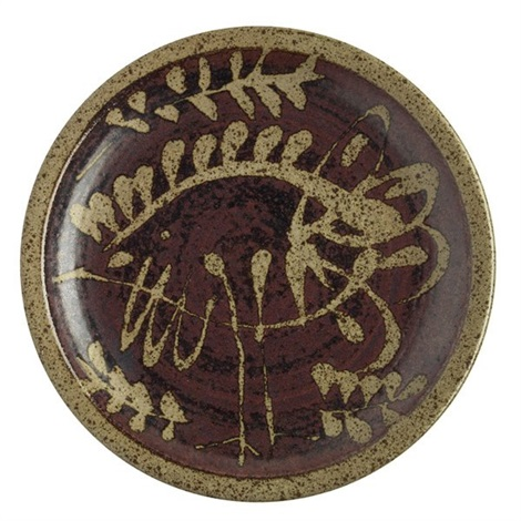 charger stylized bird leaf by peter voulkos