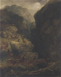 deer in a highland landscape by joseph adam
