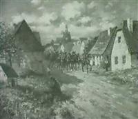 kavallerie in süddeutscher kleinstadt by albert reich