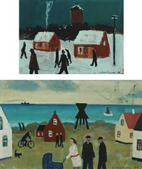 scenery with houses and persons (+ another, similar, 1947, oil on panel, lrgr; 2 works) by knud kristensen