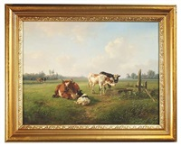 weiter blick über eine weidelandschaft mit kühen an einem futtertrog by jan bedijs tom