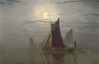 shipping vessels by moonlight by w.h. simpson