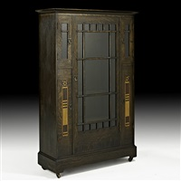 five-door inlaid china cabinet by shop of the crafters