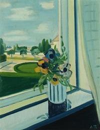 still life with flowers in a window by axel bentzen