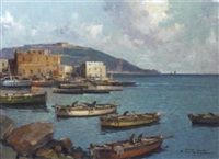 fishing vessels on the neapolitan coast by fortunato fontana