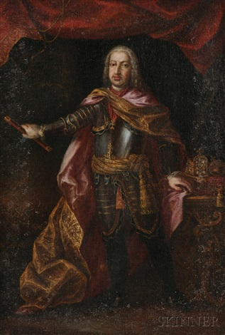 portrait of a gentleman in armor in the 18th century french manner by continental school 19
