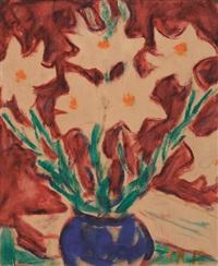 weiße lilien in blauer vase by christian rohlfs