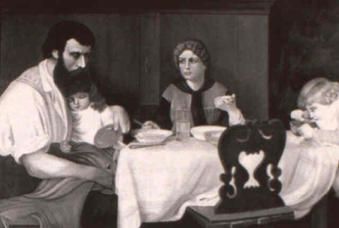a worried father at the family meal by duckworth