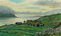landscape with house in velbastad, kirkeby on the faroe islands by joen waagstein