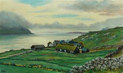 landscape with house in velbastad, kirkeby on the faroe islands by joen  waagstein