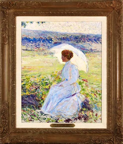 lady with a white parasol by lilla cabot perry