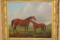 mare and foal standing in a landscape by john barwick