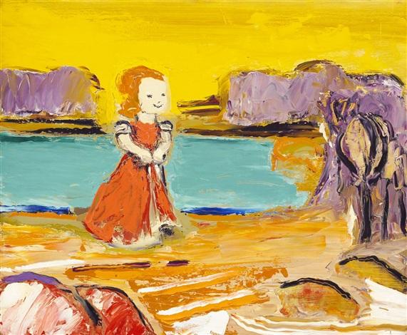 flicka på stranden by gunnar loberg