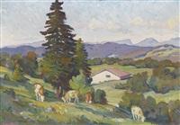 sommerliche landschaft mit weidenden kühen by françois louis jacques