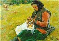 woman in a field sowing by i.i. loboda