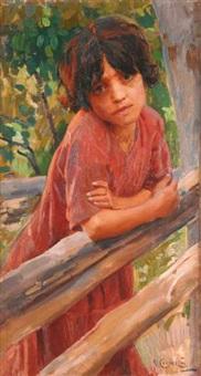 ritratto di fanciulla alla staccionata by umberto coromaldi