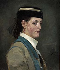 porträtt av kvinna i hatt med flor by richard (sven r.) bergh