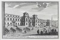 ansicht der dreifaltigkeitskirche in salzburg mit parade des fürsterzbischöflichen militärs, pl. 1 (from die salzburgische kirchen-prospect) by franz anton danreiter