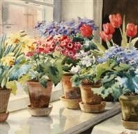 fra min vindueskarm på knudsminde i ballerup - blomsterstilleben på fönsterkarm by olga aleksandrovna (princess of storfyrstinde)
