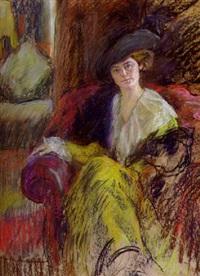sitzende dame mit hut und stola by curt ziegra