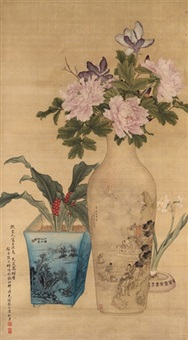 flowers by ren yi, qian hui'an, zhang zhaoxiang and zhang zuyi