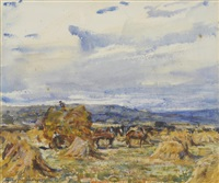 figures haymaking near a horse drawn cart by rowland henry hill
