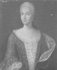 bildnis einer adligen jungen dame in einem bestickten kleid mit spitzeneinsatz by franz joseph j. anton heideloff