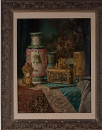 still life with chinese porcelain, ivory and silks by ludwig augustin