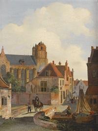 holländische stadtansicht mit einem reiter by johannes van liefland