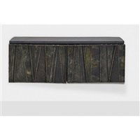deep relief wall-hanging cabinet, pe 19 by paul evans