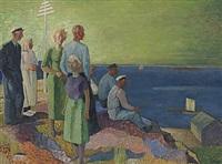 figurkomposition med fiskare vid kust by gunnar torhamn