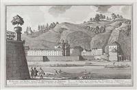 ansicht der ursulinenkirche in salzburg, mit mönchsberg und schiffszug, pl. 8 (from die salzburgische kirchen-prospect) (engraved by karl remshart) by franz anton danreiter