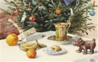 fra min julestue - stilleben vid julgran by olga aleksandrovna (princess of storfyrstinde)