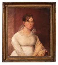 portrait of a woman in a white dress by gilbert stuart