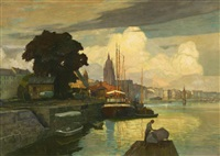 bootswerft am main vor frankfurt by max adolf peter frey