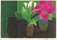 hortensias et arums by bernard cathelin